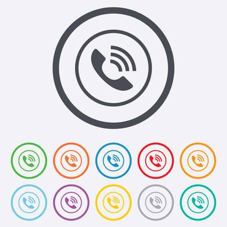 support center: Phone sign icon. Call support center symbol. Communication technology. Round circle buttons with frame. Vector Illustration