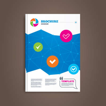 check book: Brochure or flyer design. Check icons. Checkbox confirm circle sign symbols. Book template. Vector Illustration