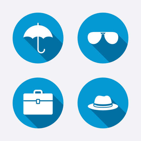 business case: Clothing accessories icons. Umbrella and sunglasses signs. Headdress hat with business case symbols. Circle concept web buttons. Vector