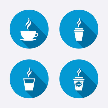 takeout: Coffee cup icon. Hot drinks glasses symbols. Take away or take-out tea beverage signs. Circle concept web buttons. Vector Illustration