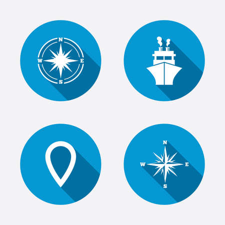 windrose: Windrose navigation compass icons. Shipping delivery sign. Location map pointer symbol. Circle concept web buttons. Vector
