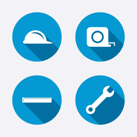 Construction helmet and wrench key tool icons. Ruler and tape measure roulette sign symbols. Circle concept web buttons. Vector