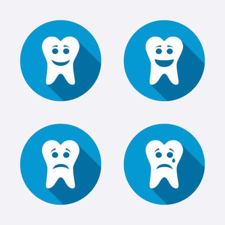 happy sad: Dente felice, triste e piangere icone facce. Segni cure odontoiatriche. Simboli Denti sani o malsani. Cerchio concetto pulsanti web. Vettore