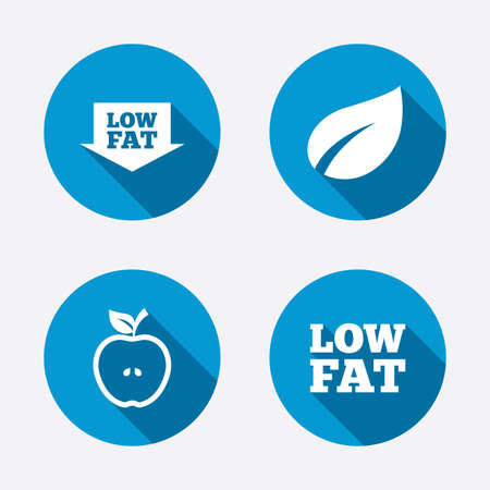 low fat diet: Low fat arrow icons. Diets and vegetarian food signs. Apple with leaf symbol. Circle concept web buttons. Vector