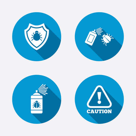 insanitary: Bug disinfection icons. Caution attention and shield symbols. Insect fumigation spray sign. Circle concept web buttons. Vector Illustration