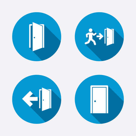 Doors icons. Emergency exit with human figure and arrow symbols. Fire exit signs. Circle concept web buttons. Vector Vectores