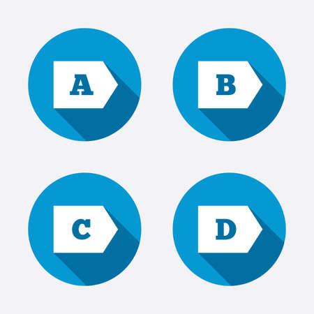 consumo energia: Classe di efficienza energetica icone. Energia simboli consumo segno. Di classe A, B, C e D. Circle pulsanti concetto web. Vettore