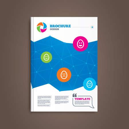 pasch: Brochure e flyer design. Uova felici e facce tristi icone. Piangere smiley con i simboli di lacrime. Tradizione segni di Pasqua Pasqua. Modello di libro. Vettore