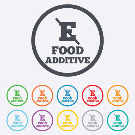 additive: Food additive sign icon. Without E symbol. Healthy natural food. Round circle buttons with frame. Vector