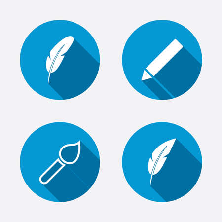 Feather retro pen icons. Paint brush and pencil symbols. Artist tools signs. Circle concept web buttons. Vector Vector