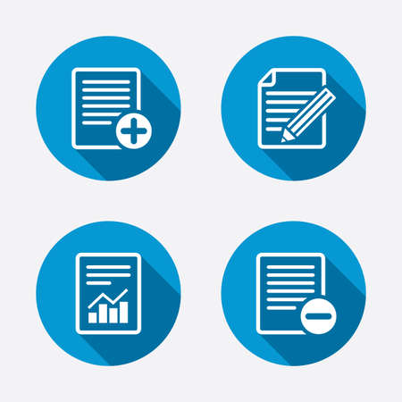 File document icons. Document with chart or graph symbol. Edit content with pencil sign. Add file. Circle concept web buttons. Vector Vector