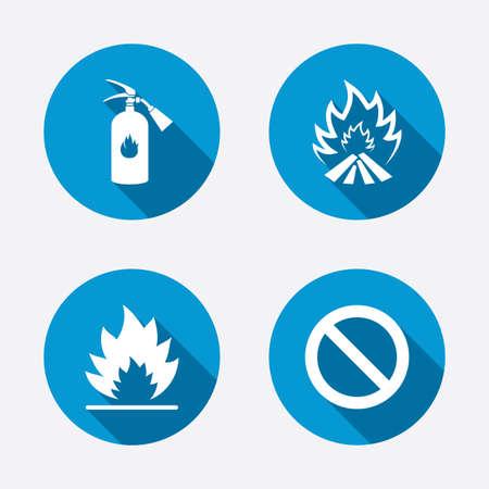 fire extinguisher sign: Iconos de la llama fuego. Muestra del extintor. Prohibici�n s�mbolo de detenci�n. Botones concepto de web de c�rculo. Vector