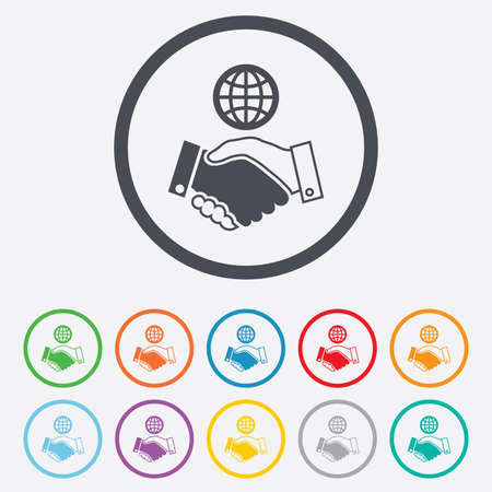 amicable: World handshake sign icon. Amicable agreement. Successful business with globe symbol. Round circle buttons with frame. Vector