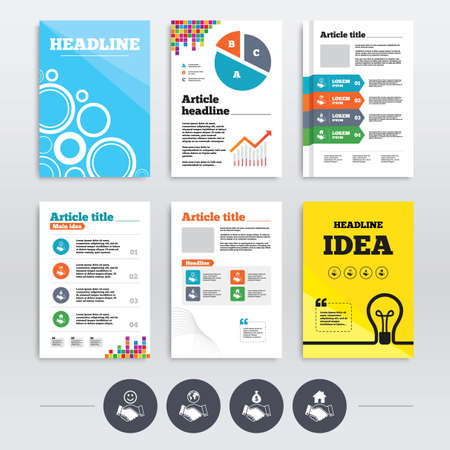 amicable: Brochure design and A4 flyers. Handshake icons. World, Smile happy face and house building symbol. Dollar cash money bag. Amicable agreement. Infographics templates set. Vector