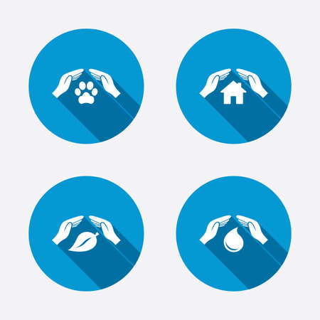 Hands insurance icons. Shelter for pets dogs symbol. Save water drop symbol. House property insurance sign. Circle concept web buttons. Vector