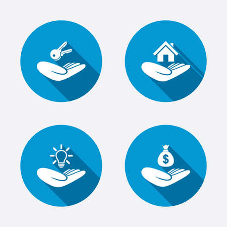 Helping hands icons. Financial money savings insurance symbol. Home house or real estate and lamp, key signs. Circle concept web buttons. Vector Vector