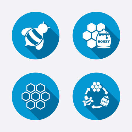 pollination: Honey icon. Honeycomb cells with bees symbol. Sweet natural food signs. Circle concept web buttons. Vector
