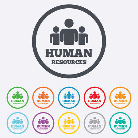 hr: Human resources sign icon. HR symbol. Workforce of business organization. Group of people. Round circle buttons with frame. Vector