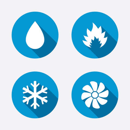 HVAC icons. Heating, ventilating and air conditioning symbols. Water supply. Climate control technology signs. Circle concept web buttons. Vector 版權商用圖片 - 38382830