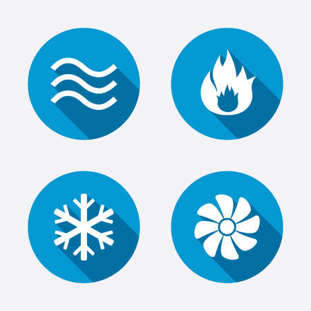 Ventilation: HVAC icons. Heating, ventilating and air conditioning symbols. Water supply. Climate control technology signs. Circle concept web buttons. Vector