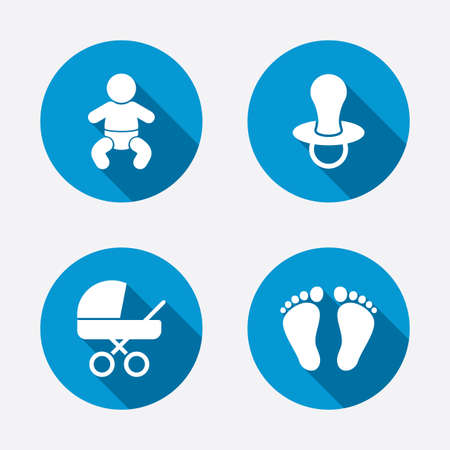 baby footprint: Baby infants icons. Toddler boy with diapers symbol. Buggy and dummy signs. Child pacifier and pram stroller. Child footprint step sign. Circle concept web buttons. Vector
