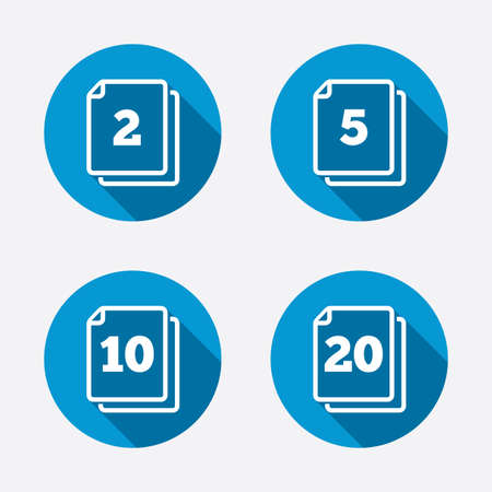 In pack sheets icons. Quantity per package symbols. 2, 5, 10 and 20 paper units in the pack signs. Circle concept web buttons. Vector Illustration