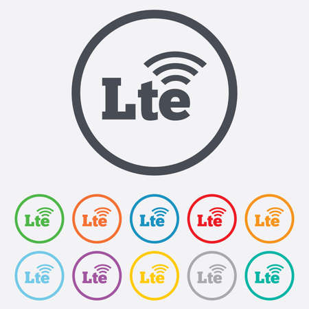 longterm: 4G LTE sign icon. Long-Term evolution sign. Wireless communication technology symbol. Round circle buttons with frame. Vector Illustration