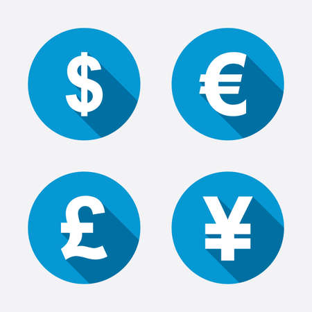 Dollar, Euro, Pound and Yen currency icons. USD, EUR, GBP and JPY money sign symbols. Circle concept web buttons. Vector