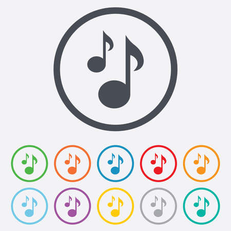 Music notes sign icon. Musical symbol. Round circle buttons with frame. Vector