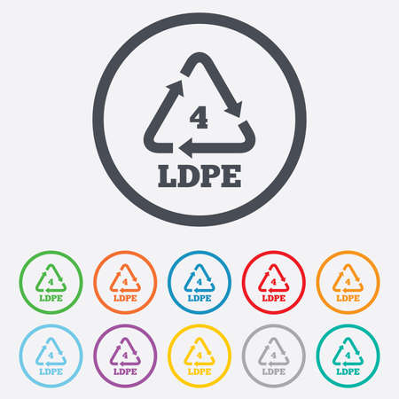 monomer: Ld-pe 4 icon. Low-density polyethylene sign. Recycling symbol. Round circle buttons with frame. Vector