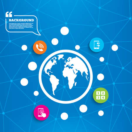 outcoming: Abstract world globe. Phone icons. Touch screen smartphone sign. Call center support symbol. Cellphone keyboard symbol. Incoming and outcoming calls. Molecule structure background. Vector