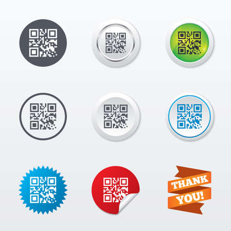 Qr code sign icon. Scan code symbol. Coded word - success! Circle concept buttons. Metal edging. Star and label sticker. Vector