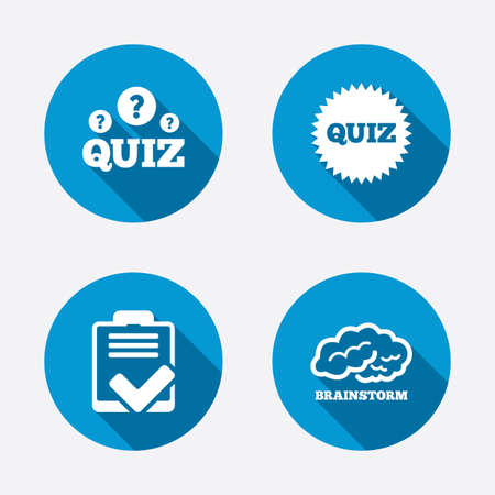 checklist: Quiz icons. Brainstorm or human think. Checklist symbol. Survey poll or questionnaire feedback form. Questions and answers game sign. Circle concept web buttons. Vector