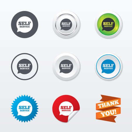 maintenance symbol: Self service sign icon. Maintenance symbol in speech bubble. Circle concept buttons. Metal edging. Star and label sticker. Vector