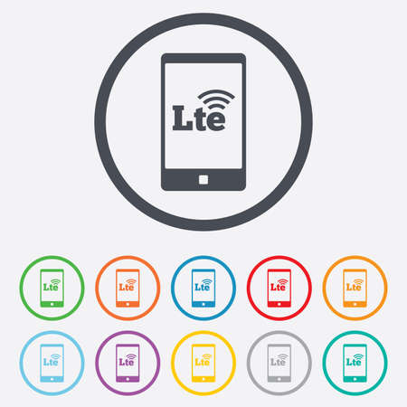 wireless communication: 4G LTE sign in smartphone icon. Long-Term evolution sign. Wireless communication technology symbol. Round circle buttons with frame. Vector Illustration