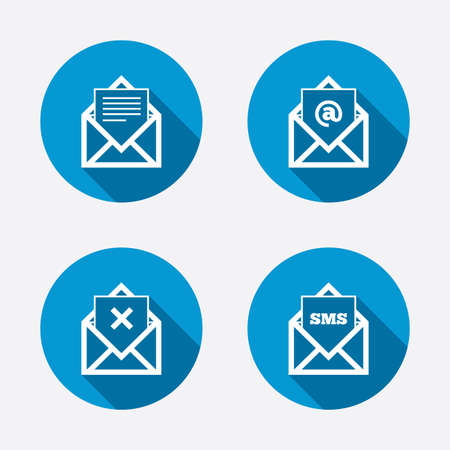 webmail: Mail envelope icons. Message document symbols. Post office letter signs. Delete mail and SMS message. Circle concept web buttons. Vector