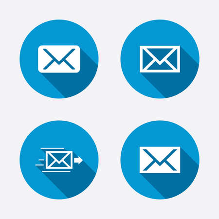 Mail envelope icons. Message delivery symbol. Post office letter signs. Circle concept web buttons. Vector