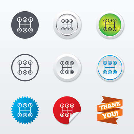 shifter: Manual transmission sign icon. Automobile mechanic control symbol. Circle concept buttons. Metal edging. Star and label sticker. Vector