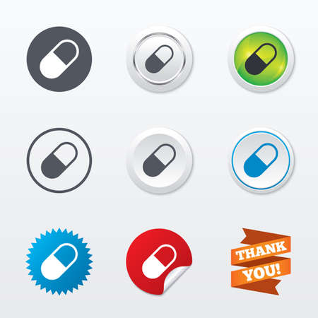 Medical pill sign icon. Drugs symbol. Circle concept buttons. Metal edging. Star and label sticker. Vector Vector