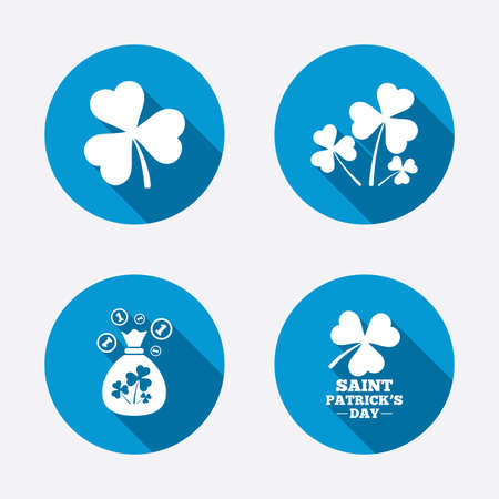 clover buttons: Saint Patrick day icons. Money bag with clover and coins sign. Trefoil shamrock clover. Symbol of good luck. Circle concept web buttons. Vector