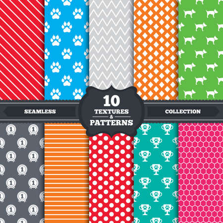 clutches: Seamless patterns and textures. Pets icons. Cat paw with clutches sign. Winner cup and medal symbol. Dog silhouette. Endless backgrounds with circles, lines and geometric elements. Vector