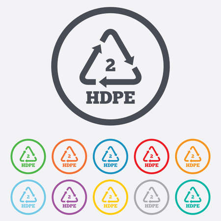 polyethylene: Pe-hd 2 icon. Polyethylene high-density sign. Recycling symbol. Round circle buttons with frame. Vector