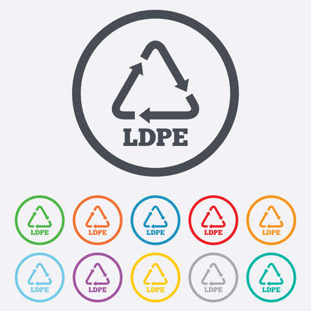 polyethylene: Ld-pe icon. Low-density polyethylene sign. Recycling symbol. Round circle buttons with frame. Vector
