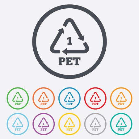 PET 1 icon. Polyethyleentereftalaat teken. Recycling symbool. Flessen verpakking. Ronde cirkel knoppen met frame. Vector
