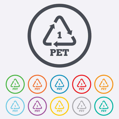 polyethylene: PET 1 icon. Polyethylene terephthalate sign. Recycling symbol. Bottles packaging. Round circle buttons with frame. Vector