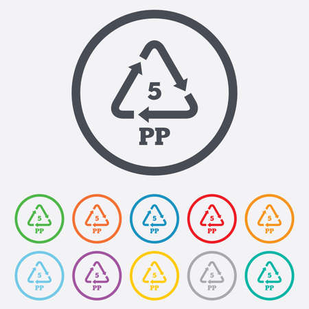 pp: PP 5 icon. Polypropylene thermoplastic polymer sign. Recycling symbol. Round circle buttons with frame. Vector Illustration