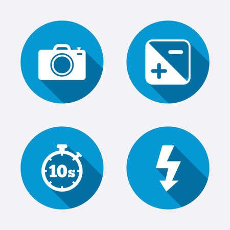 hosszú expozíció: Fényképezőgép ikonra. Vaku fényét, és az expozíció szimbólumok. Stopperóra 10 másodperc aláírására. Circle koncepció gombok. Vektor