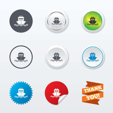 chimney corner: Ship or boat sign icon. Shipping delivery symbol. With chimneys or pipes. Circle concept buttons. Metal edging. Star and label sticker. Vector