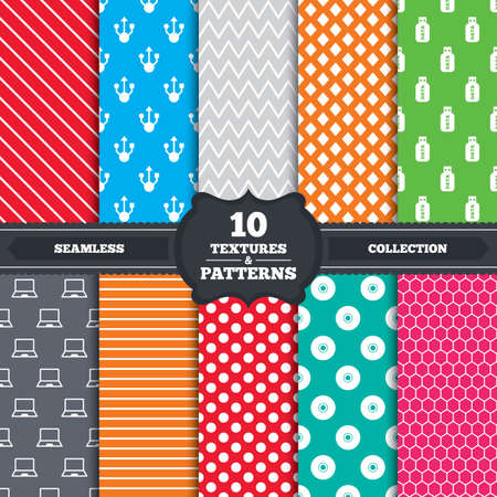 ultrabook: Seamless patterns and textures. Usb flash drive icons. Notebook or Laptop pc symbols. CD or DVD sign. Compact disc. Endless backgrounds with circles, lines and geometric elements. Vector Illustration
