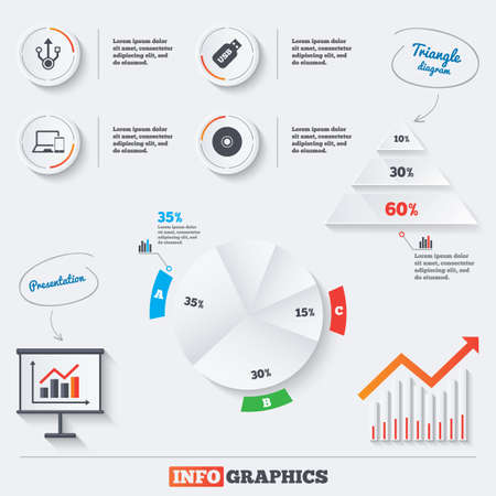 ultrabook: Pyramid chart with three options. Usb flash drive icons. Notebook or Laptop pc symbols. Smartphone device. CD or DVD sign. Compact disc. Infographic background with pie chart and demand curve. Vector